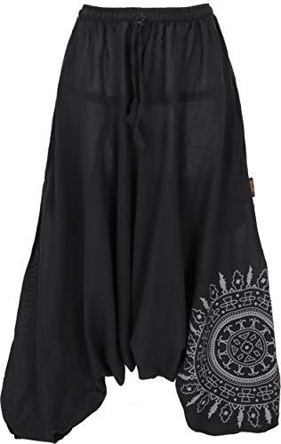 GURU SHOP Pantalones harén bombachos con mandala, pantalones aladín de algodón, para mujer, color amarillo, talla: 40, pantalones de muselina y pantalones de aladín, ropa alternativa Negro 42