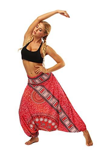 Pantalon Bombacho Mujer Estampado Flores Bohemio Hippie Chic Pantalones Largos Vestir Verano Baggy Hip Hop Danza Harem Pants Leggins Deporte Cintura Alta Etnico Pantalones de Yoga Pilates Pijama Playa