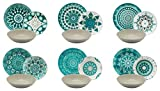 Excelsa - Vajilla de 18 Piezas de Porcelana, Color Azul/Gris, Modelo Mandala