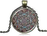 Collar Regalos Vintage Mandala Flor Collar Encanto Cristal Cabochon Yoga Colgante Tatuaje de Henna Collares Hombres Mujeres Regalo Joyería DIY