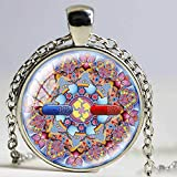 Collares de mandala coloridos bañados en plata con colgante de chakra OM Jewelry para mujer, colgante de cabujón de cristal, joyería Zen Vintage