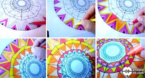 paso a paso coloreando mandalas