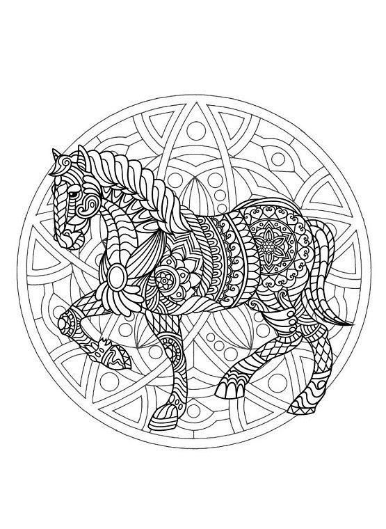 Mandalas de animales para colorear de caballo