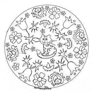mandala gato y flores