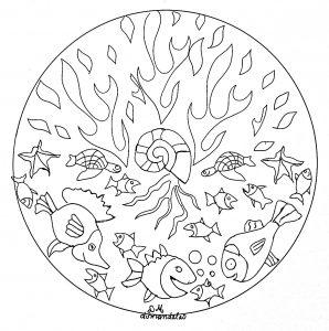 mandalas de animales para colorear fácilespeces y calamar