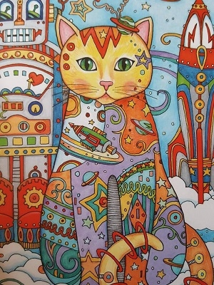 mandala coloreado gato
