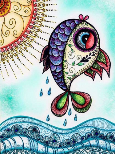 mandalas coloreados pez