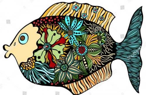 mandalas coloreados pez y flores