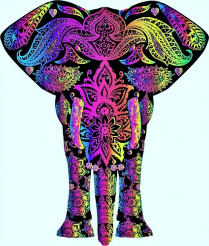 mandala coloreado elefante
