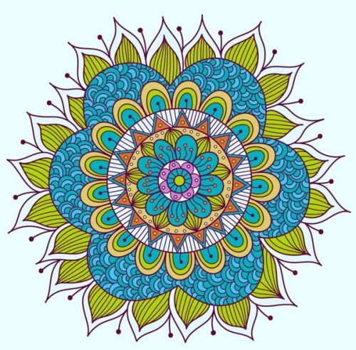 mandala coloreado flores azul y verde