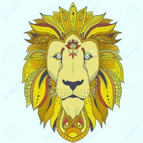 mandala coloreado leon