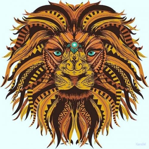 mandala coloreado león 1