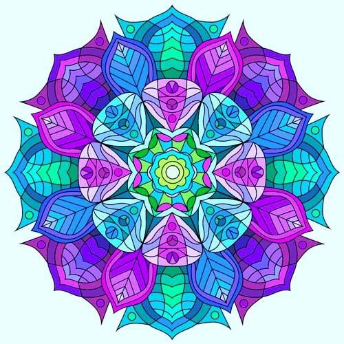 mandalas coloreados alegres lila-azul