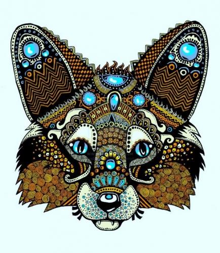 mandala coloreado lobo