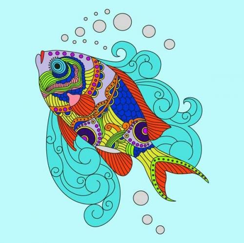 mandalas coloreados pez multicolor