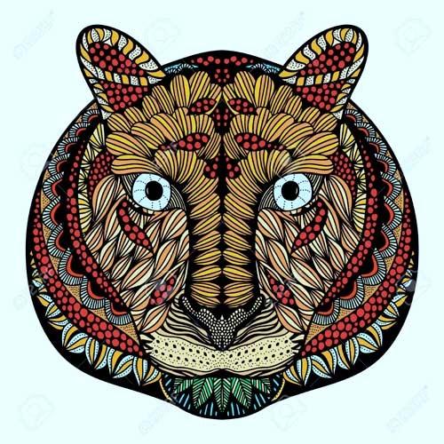 mandala coloreado de tigre colores tierra