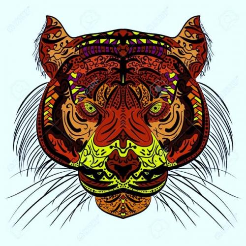 mandala coloeado tigre