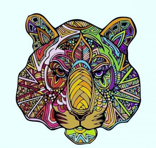 mandala coloreado león