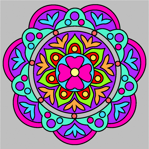 mandalas coloreados flores rosas