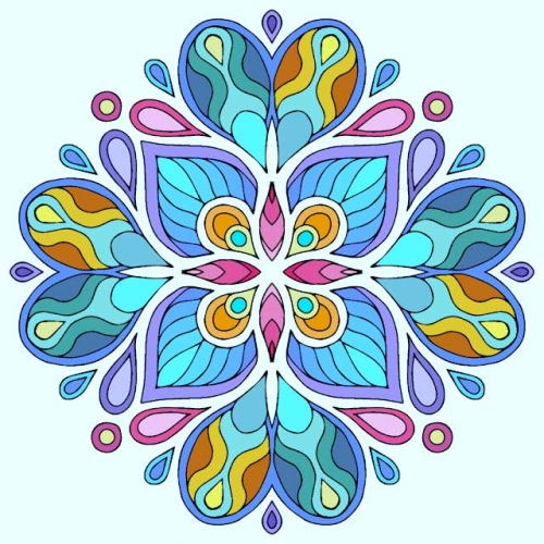 mandala coloreado flores azules