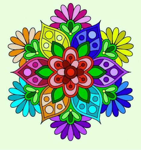 mandalas coloreados de flor multicolor