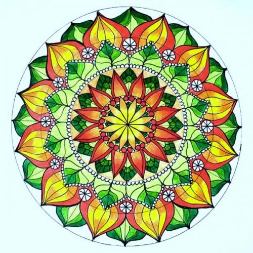mandalas coloreados flor amarilla y verde