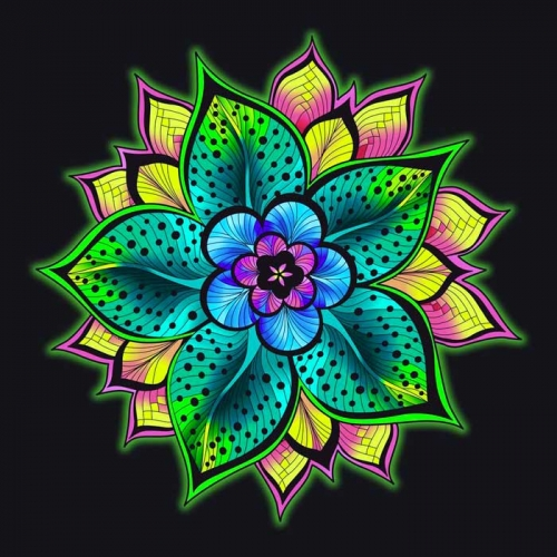 mandalas coloreados flor brillante