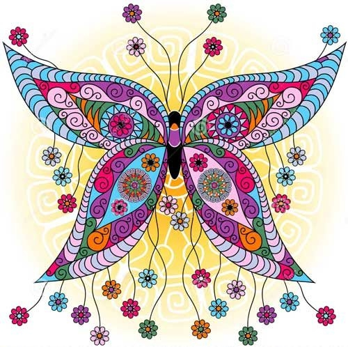 mandalas coloreados de mariposas