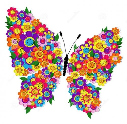 mandala coloreado mariposas y flores