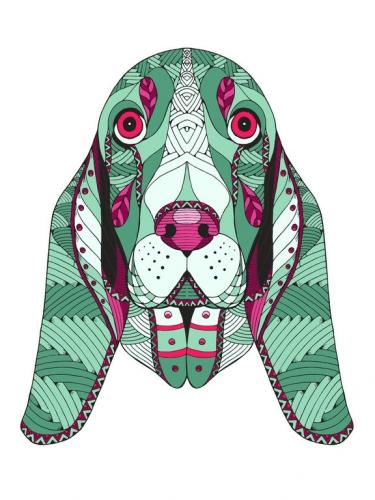 mandala coloreado perro