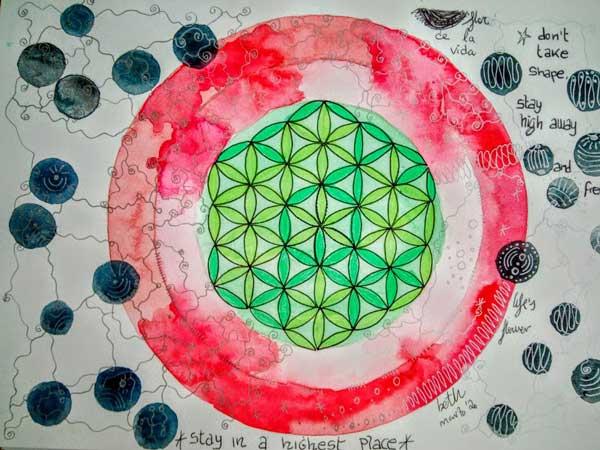 mandala flor de la vida original pintado a mano con acuarela
