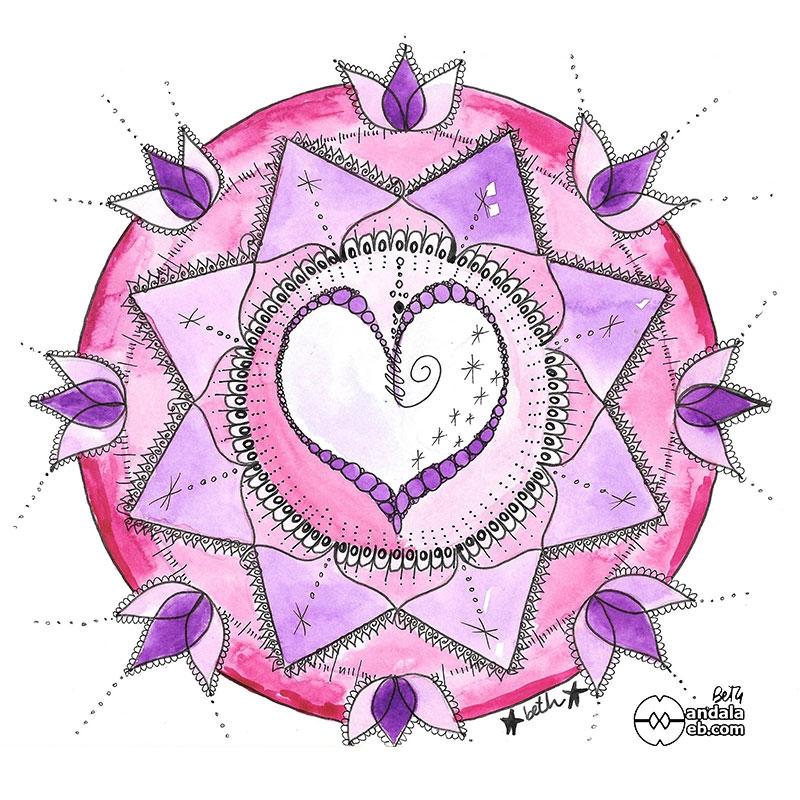 mandala corazón rosado original