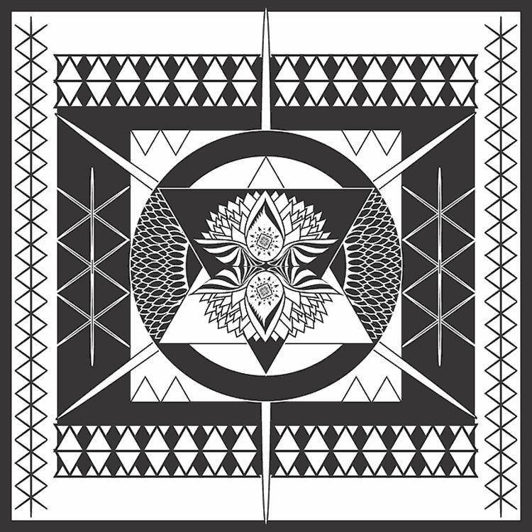 mandala con cuadrado y círculo