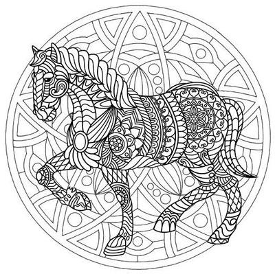 mandala para colorear de animales con un caballo