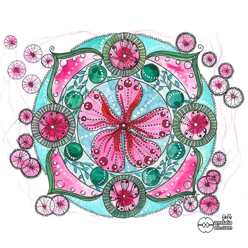 mandalas originales pintados en turquesa y rosa