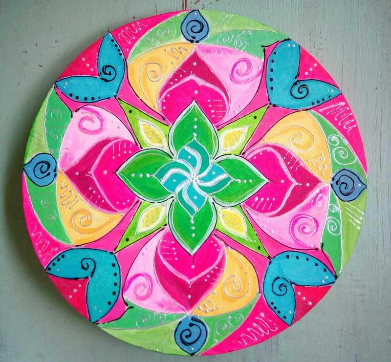 Lienzo circular de mandala original mandalaweb