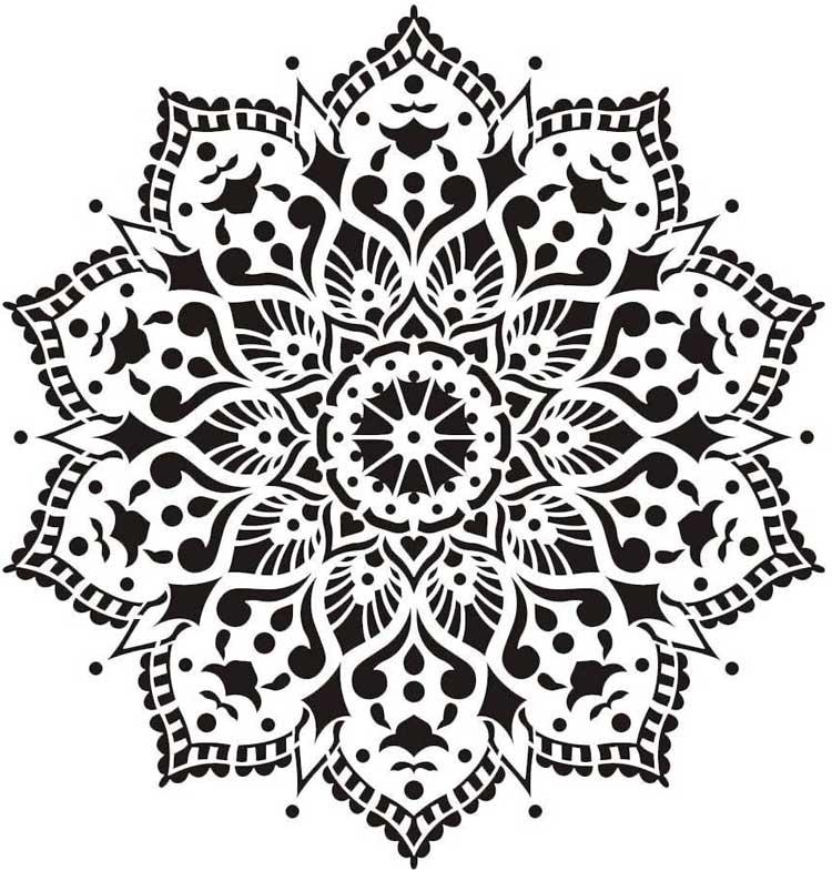 Plantilla de mandala blanco y negro