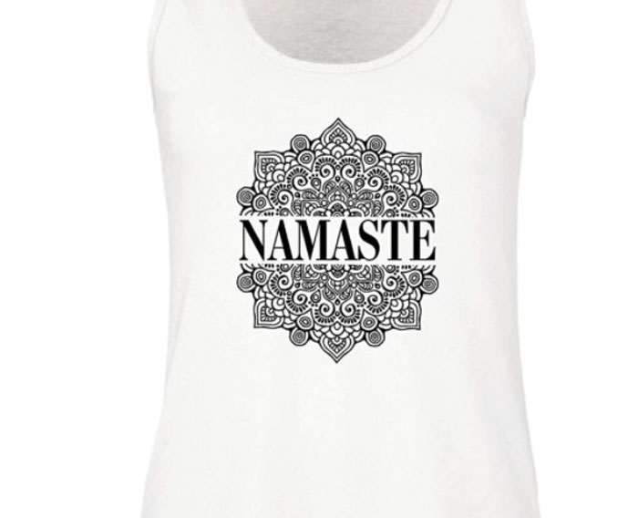 Camiseta blanca para yoga Namaste
