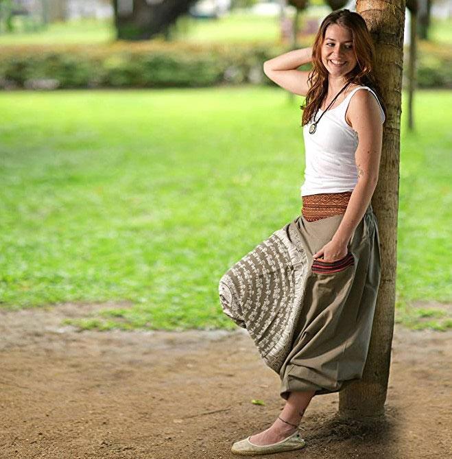 pantalón bombacho mujer tierra étnico