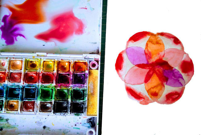Colorear con acuarela el mandala