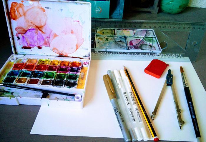 Materiales para hacer una tarjeta Navideña