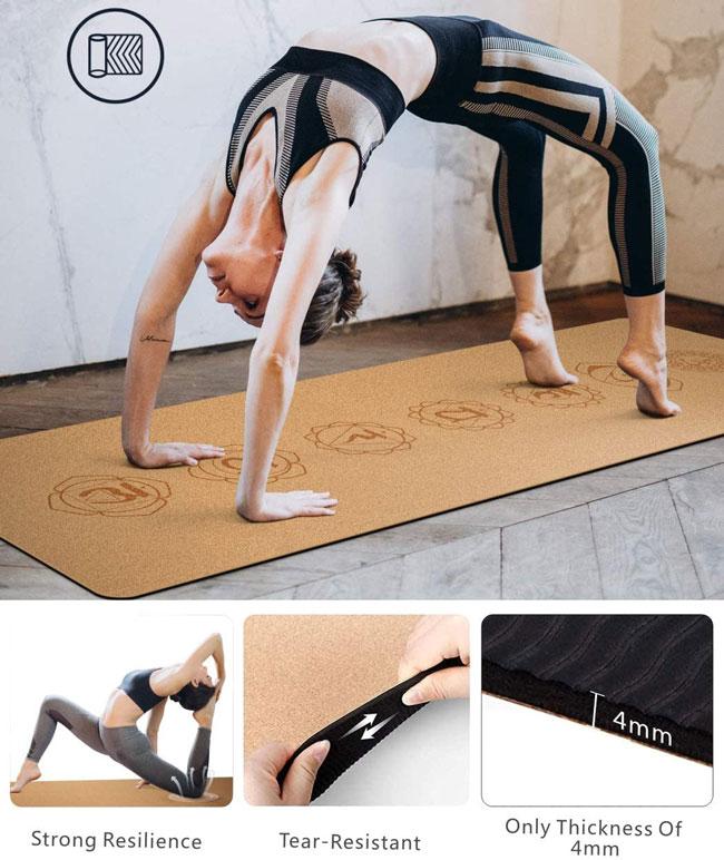 Esterillas de yoga con mandalas fabricada en corcho 4mm
