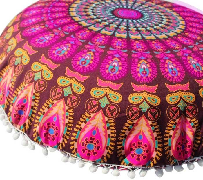 Cojín almohadón de mandalas, redondo para meditación