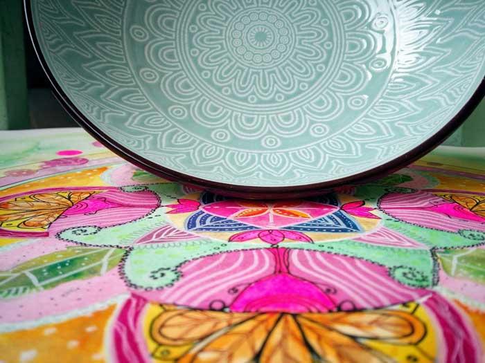 plato de mandala turquesa